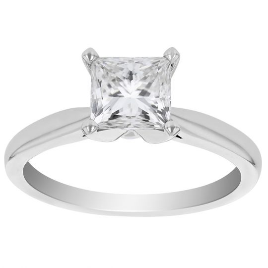 solitaire princess cut diamond 14k white gold over 1.50ct women anniversary ring