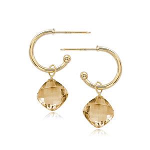 14k Yellow Gold Checkerboard Square Citrine Drop Hoop Earrings