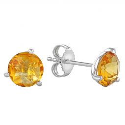 14k White Gold Round Citrine Stud Earrings