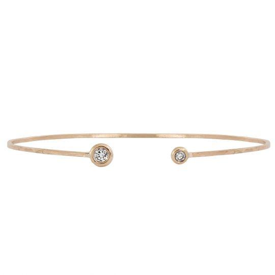 b6840367db8 Julez Bryant 14K Rose Gold Diamond Hammered Thin Cuff Bracelet | Borsheims