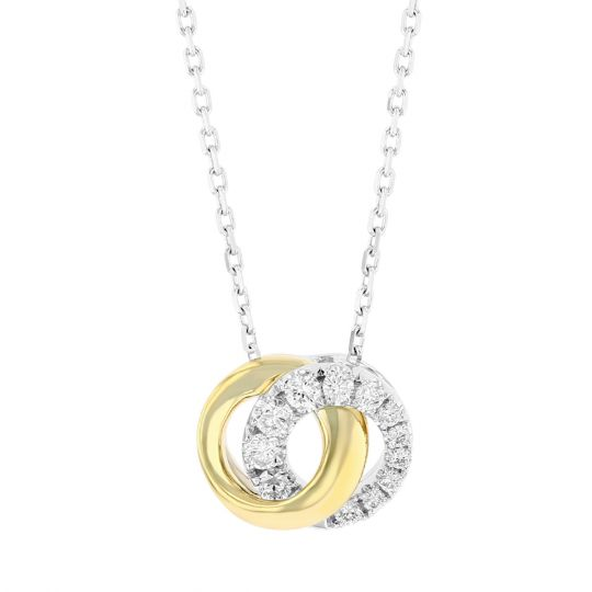 222b9627ad8ed1 Frederic Sage 14K Yellow & White Gold Mini Love Halo Circle Necklace, 18