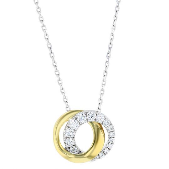 2430951ff1a8c0 Frederic Sage 14K Yellow & White Gold Love Halo Circle Necklace, 18