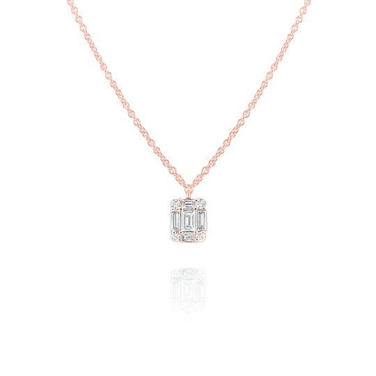 06f63bf10abee 14K Rose Gold Baguette & Round Diamond Mini Mosaic Square Pendant, 16