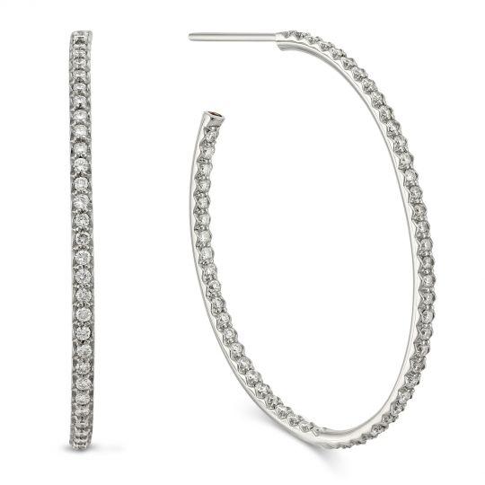 23c3adf1d Roberto Coin 18K White Gold Diamond Medium Oval Hoop Earrings | Borsheims
