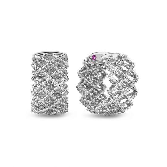 Roberto Coin Barocco Three-Row Huggie Earrings with Diamonds in 18K Gold CD0arLuesC