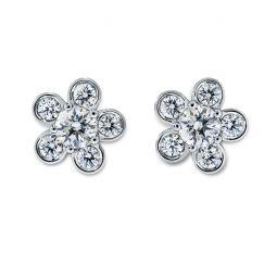 Diama 18k White Gold Swarovski Created Diamond Bloom Stud Earrings