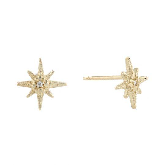 c8e6d57a15885 Robin Haley 14K Yellow Gold Diamond Star Stud Earrings