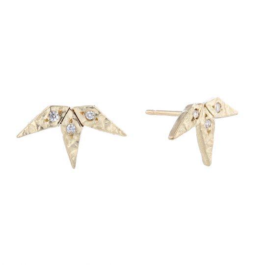 Robin Haley Diamond Snowflake Stud Earrings In Yellow Gold