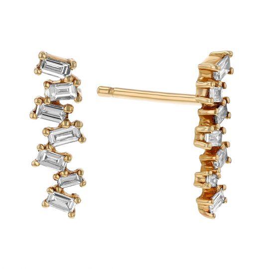 Baguette Diamond Cer Earrings In Yellow Gold