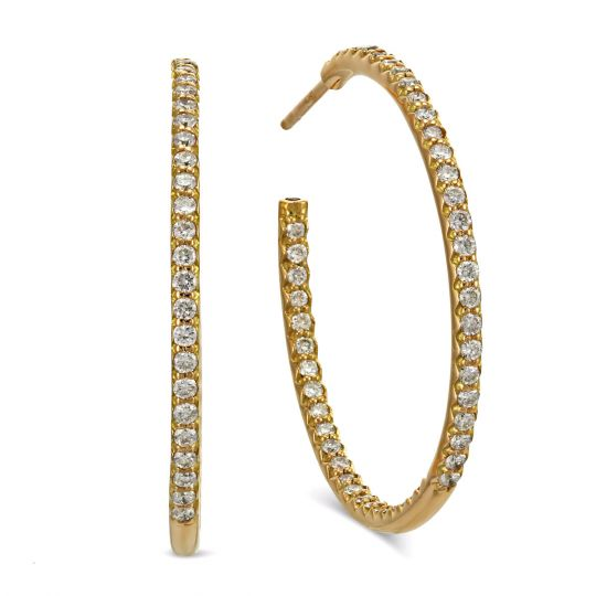 9823d13f2 Roberto Coin Medium Inside Outside Diamond Hoop Earrings in Rose Gold |  Borsheims