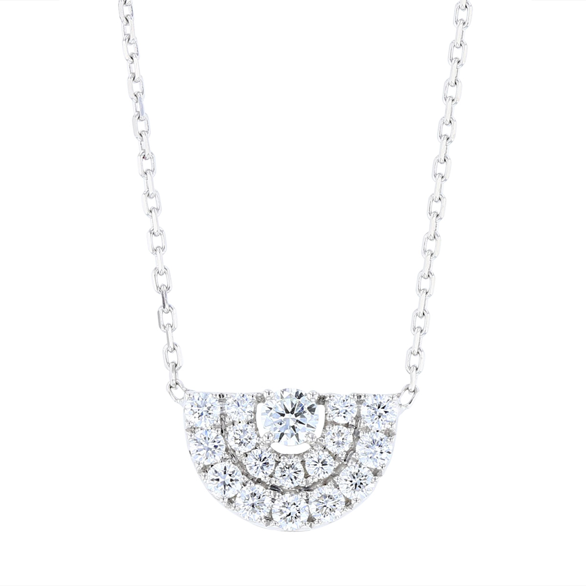 Frederic Sage 14k White Gold Diamond Deco Half Moon