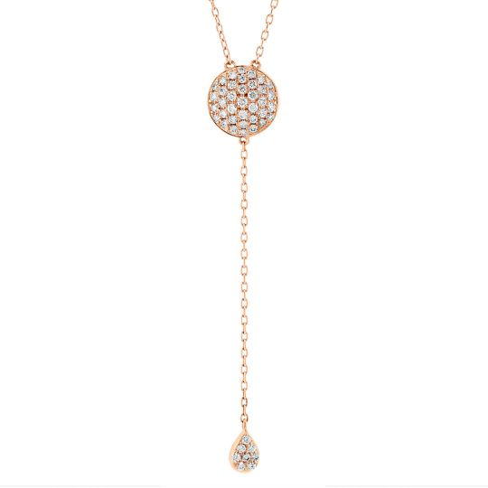 75da9698d0c6f 18K Rose Gold Diamond Pave Disc Y Necklace with Teardrop Accent, 16