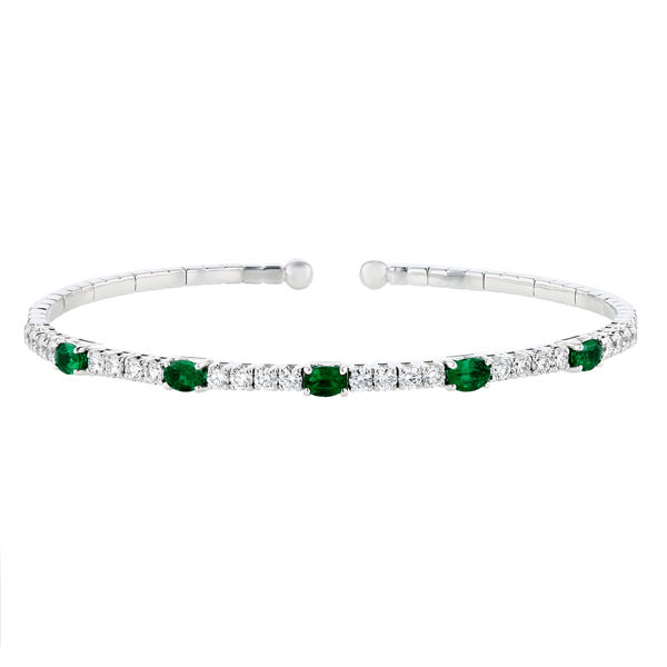 bracelet and plated emerald gold tennis diamond row eternity silver three cz
