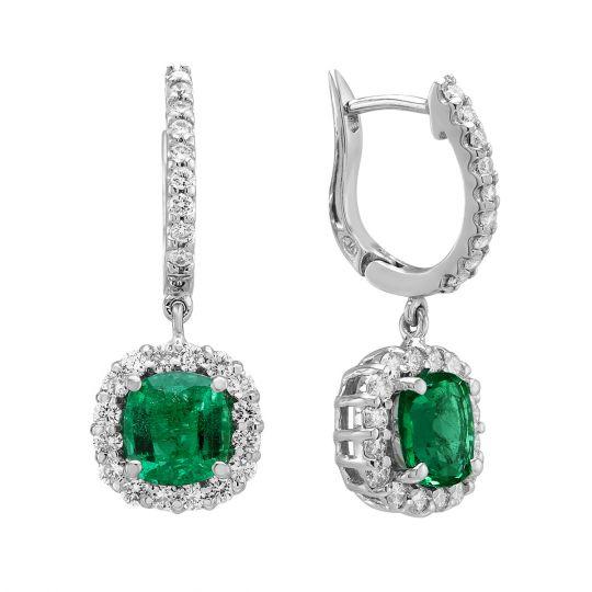 18k White Gold Diamond Halo Emerald Dangle Earrings