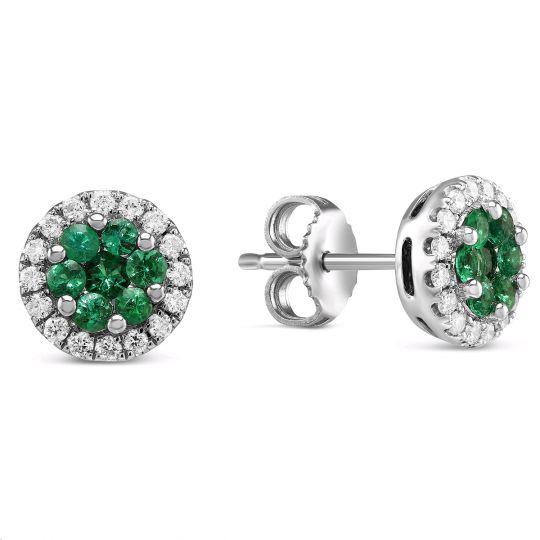 c88d69ea8 14K White Gold Round Emerald Cluster & Diamond Halo Stud Earrings    Borsheims