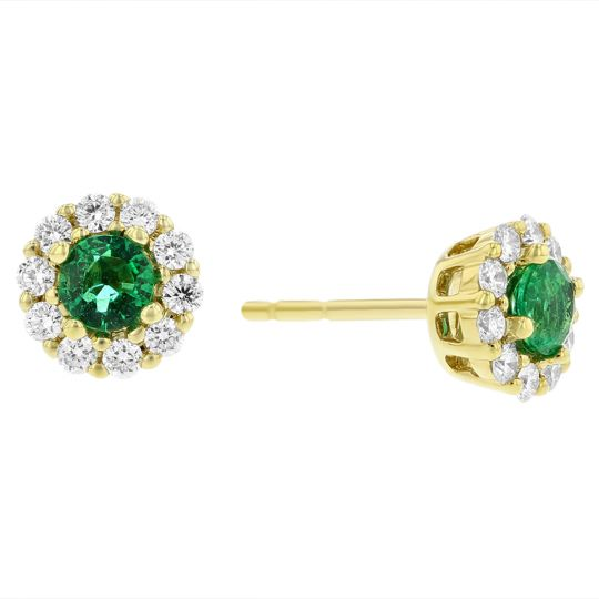 cd52633bbfe36 14K Yellow Gold Round Emerald & Diamond Halo Stud Earrings