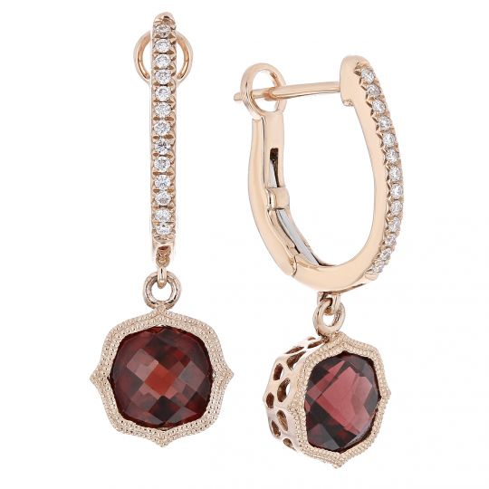 c82e91789a4c24 14K Rose Gold Cushion Garnet & Diamond Milgrain Quatrefoil Dangle Earrings  | Borsheims