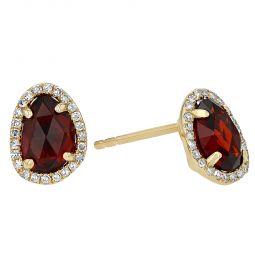 Details about  /14k White Gold Oval Rhodolite Garnet And Diamond Earrings