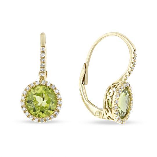 14k Rose Gold Round Peridot Diamond Halo Leverback Earrings