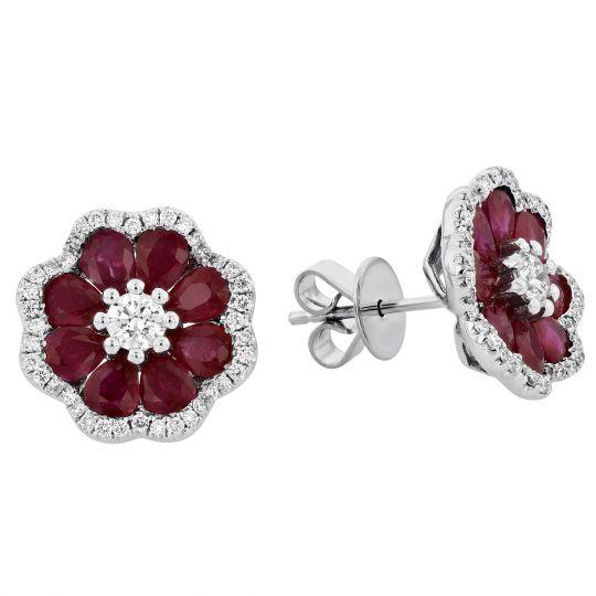 dcc327522 18K White Gold Pear Shaped Ruby & Diamond Flower Post Earrings   Borsheims