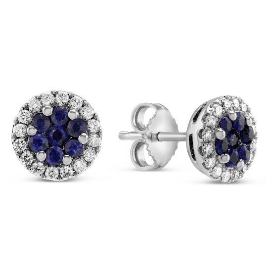 3e8d15287 14K White Gold Round Sapphire Cluster & Diamond Halo Stud Earrings |  Borsheims