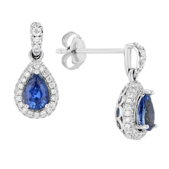 b291f7b37 14K White Gold Sapphire & Diamond Halo Drop Earrings | Borsheims