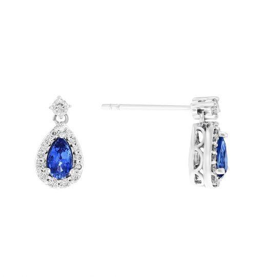 8e6a6f1fd 14K White Gold Pear Shaped Sapphire & Diamond Halo Post Earrings | Borsheims