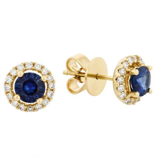 df675c21b 14K Yellow Gold Round Sapphire & Diamond Halo Stud Earrings | Borsheims