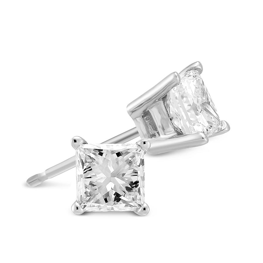 18k White Gold Princess Diamond Stud Earrings 1 25cttw