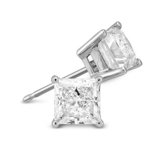 18k White Gold Princess Diamond Stud Earrings 2 00cttw