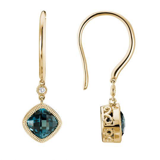 6b447fa88951 14K Yellow Gold Checkerboard Cushion London Blue Topaz   Diamond Milgrain  Drop Earrings