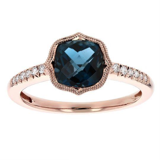 14k Rose Gold Cushion London Blue Topaz Diamond Milgrain Quatrefoil Ring