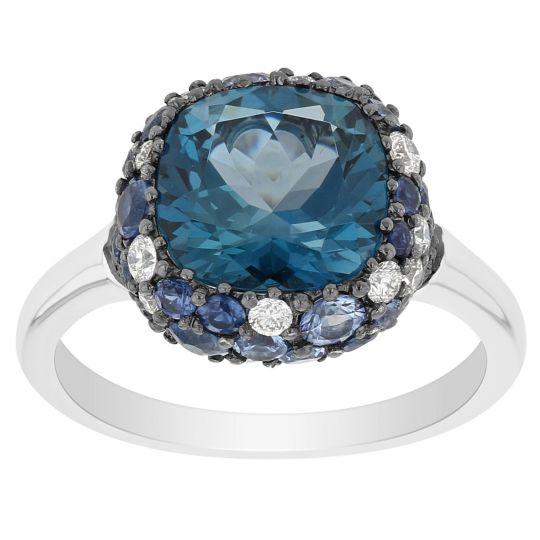 DV Jewels Blue Quartz Gemstone Bar Ring