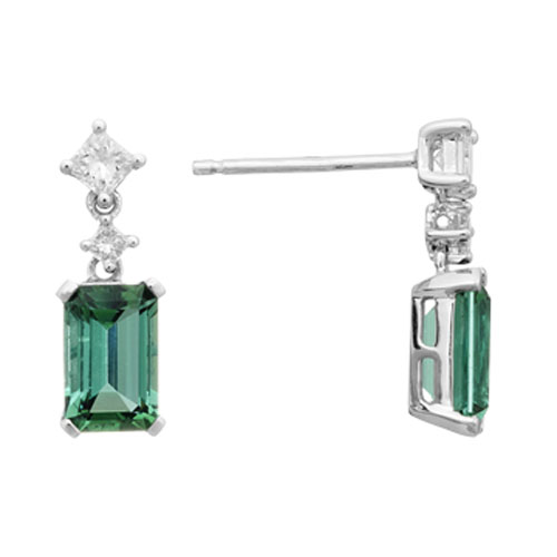 14k White Gold Emerald Cut Green Tourmaline Diamond Dangle Earrings