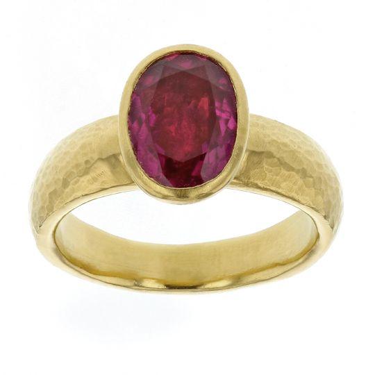 e9841303889aa Gurhan 24K Yellow Gold Oval Cabochon Pink Tourmaline Bezel Set Ring