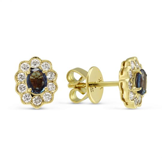 18k Yellow Gold Oval Alexandrite Diamond Scalloped Halo Stud Earrings