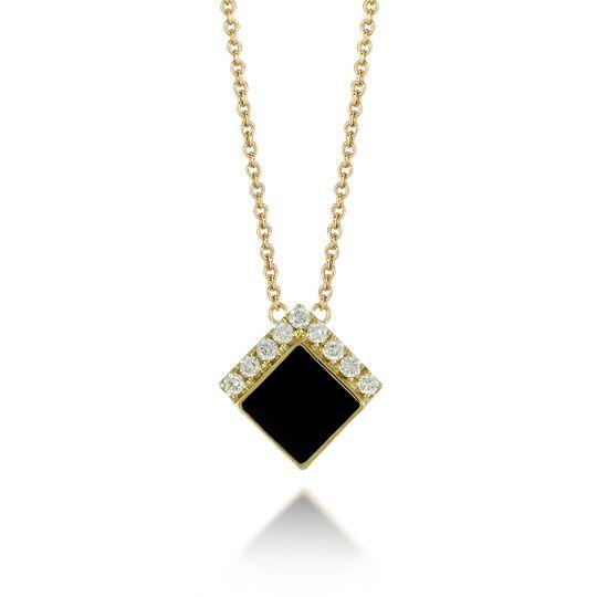 32bb769f21f5d Doves 18K Yellow Gold Square Black Onyx & Diamond Chevron Necklace, 18
