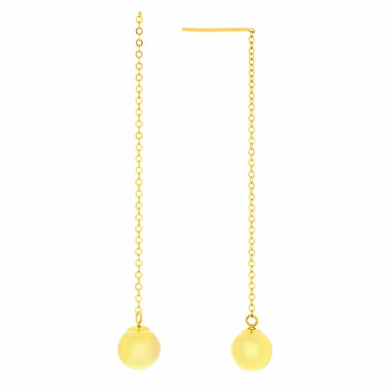 14k Yellow Gold Bead Drop Threader Earrings