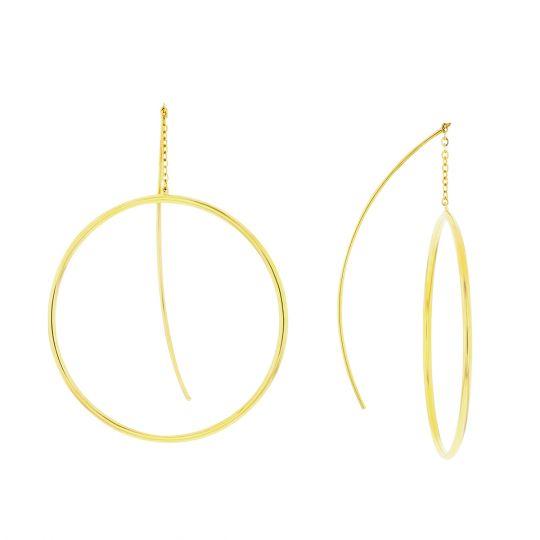 14k Yellow Gold Hoop Threader Earrings