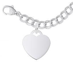 d63a10060 Rembrandt Sterling Silver Medium Heart Charm Bracelet Set