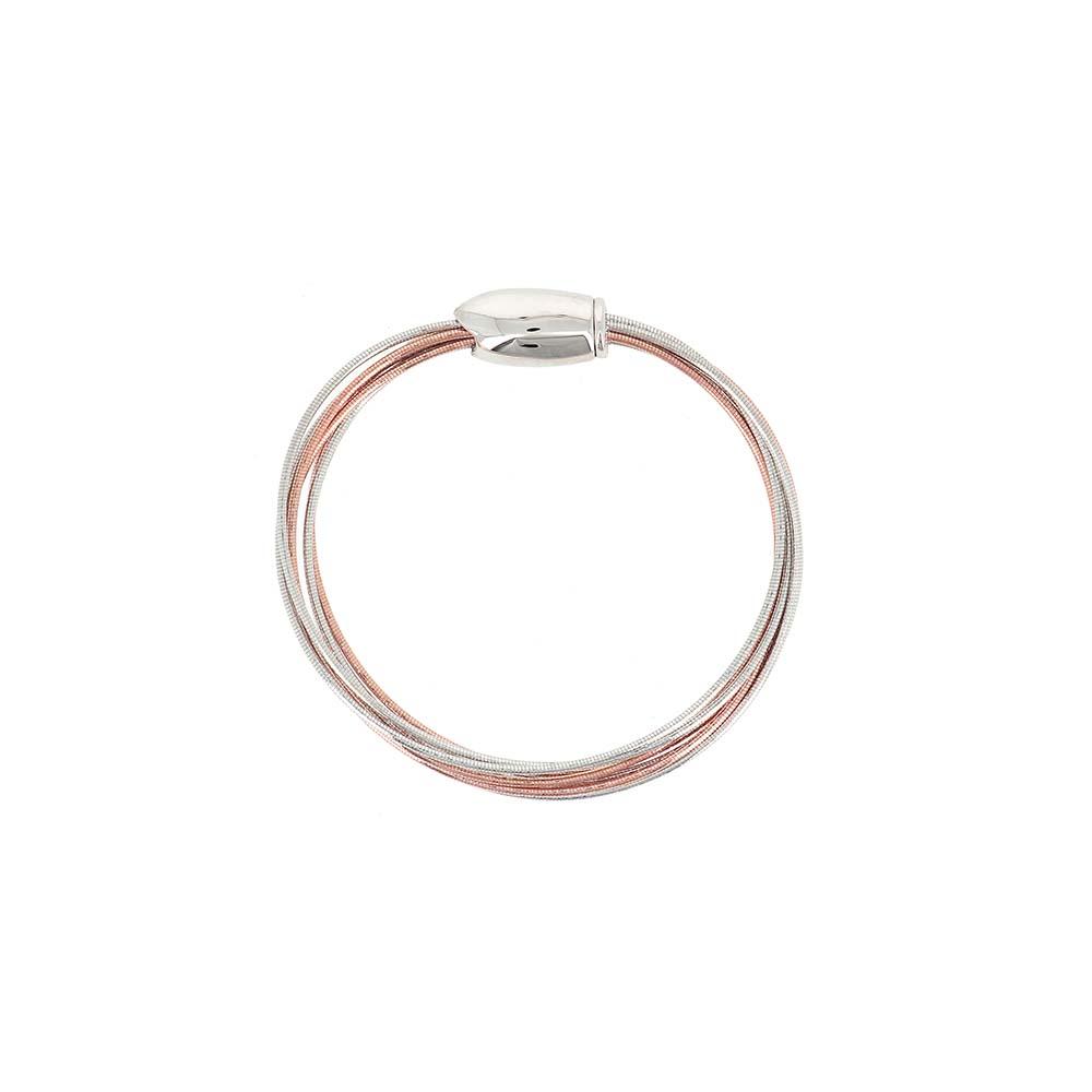 Pesavento Sterling Silver Rose Tone 7 Strand Dna Spring Bracelet