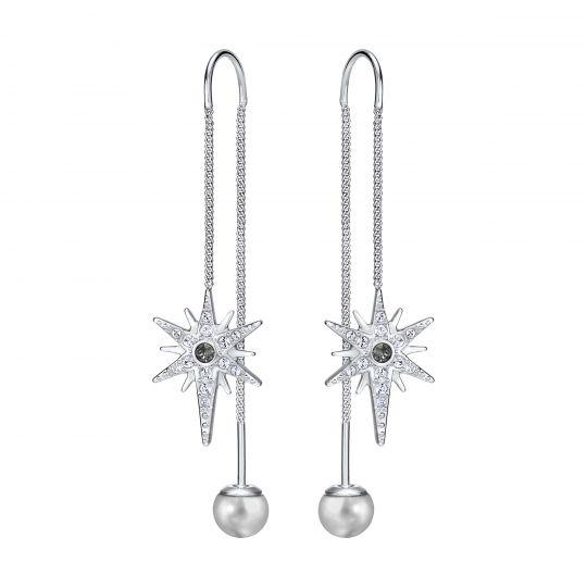 d32c340fe Swarovski Fantastic Grey Crystal Pearl & Pave Starburst Chain Earrings |  Borsheims