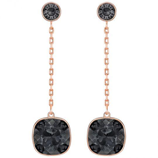 7109141f7 Swarovski Lattitude Chain Pierced Earrings, Black, Rose Gold Plating |  Borsheims
