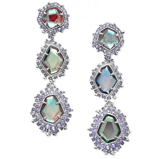 Kendra Scott Aria Clip On Silver Statement Earrings In Gray Dichroic Gl