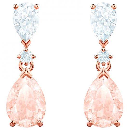 Swarovski Vintage Pink Drop Pierced Rose Gold Earrings