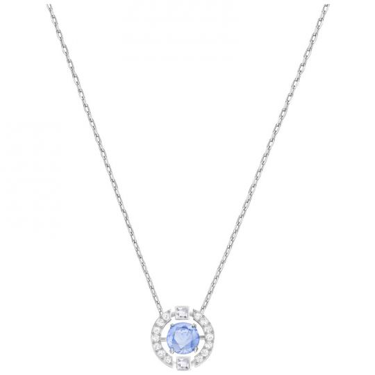 04489908e41 Swarovski Sparkling Dance Round Necklace, Blue Crystal & Rhodium plating |  Borsheims
