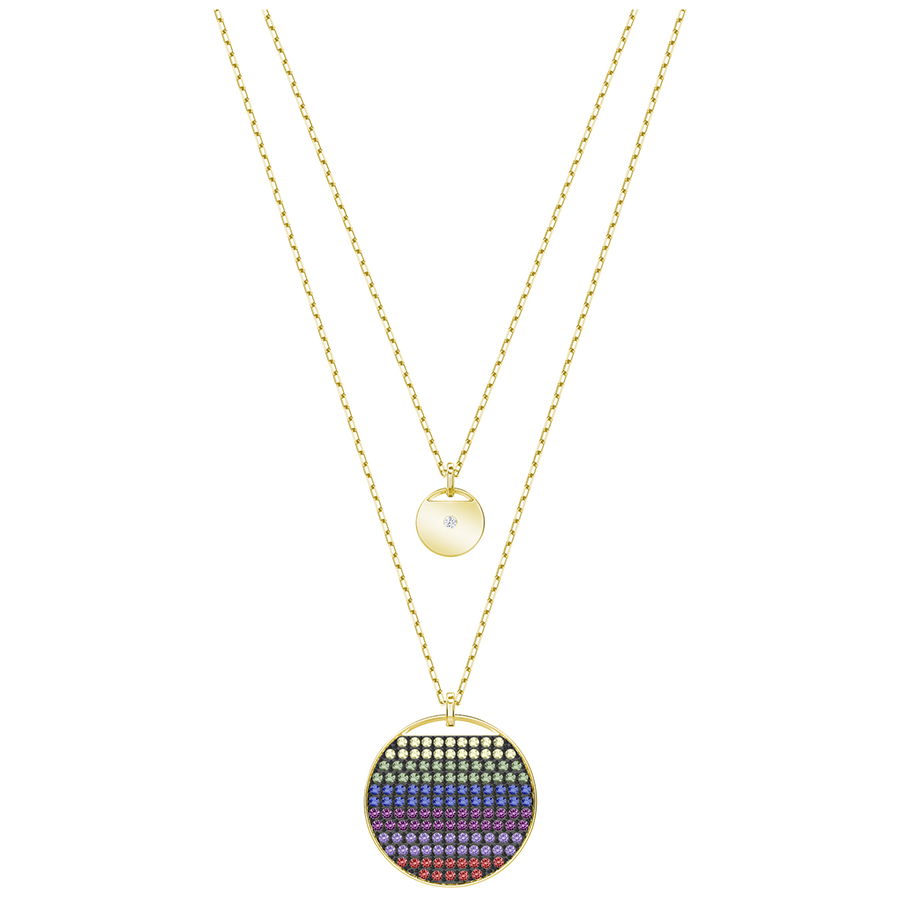 57661304a25e7 Swarovski Ginger Layered Pendant, Multi-Colored, Gold Plating