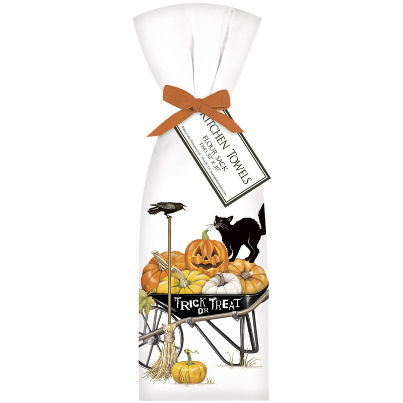 Cat Mary Lake Thompson Flour Sack Towel Halloween TRICK OR TREAT Wheelbarrow