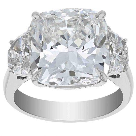 Cushion Diamond 3 Stone Ring In Platinum