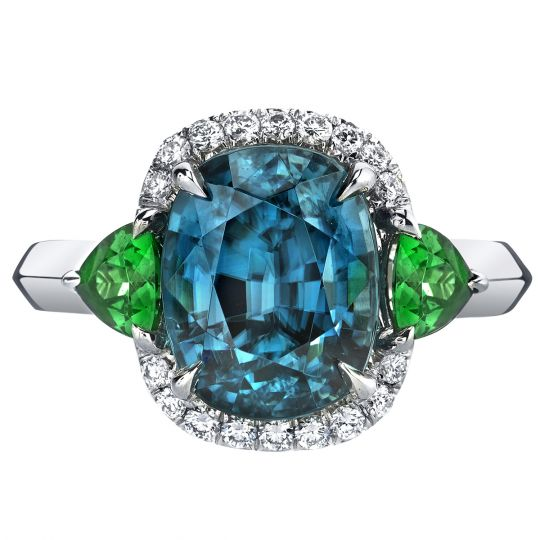 7a3a451b07ff9 Omi Prive Cushion Blue Zircon, Trillion Tsavorite & Diamond Halo Ring in  White Gold